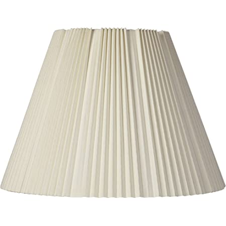 """Eggshell Pleated Large Empire Lamp Shade 9"""" Top x 17"""" Bottom x 11.75"""" High x 12.25"""" Slant (Spider) Replacement with Harp and Finial - Brentwood"""