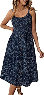 Women's Dresses - Summer Boho Floral Spaghetti Strap Button Down Belt Swing A line Midi Dress with Pockets
