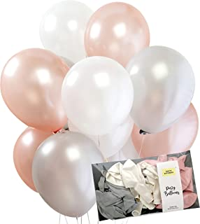 Rose Gold and Silver White Mix Tough Latex Party Decoration Balloon 30pcs Thickened 12