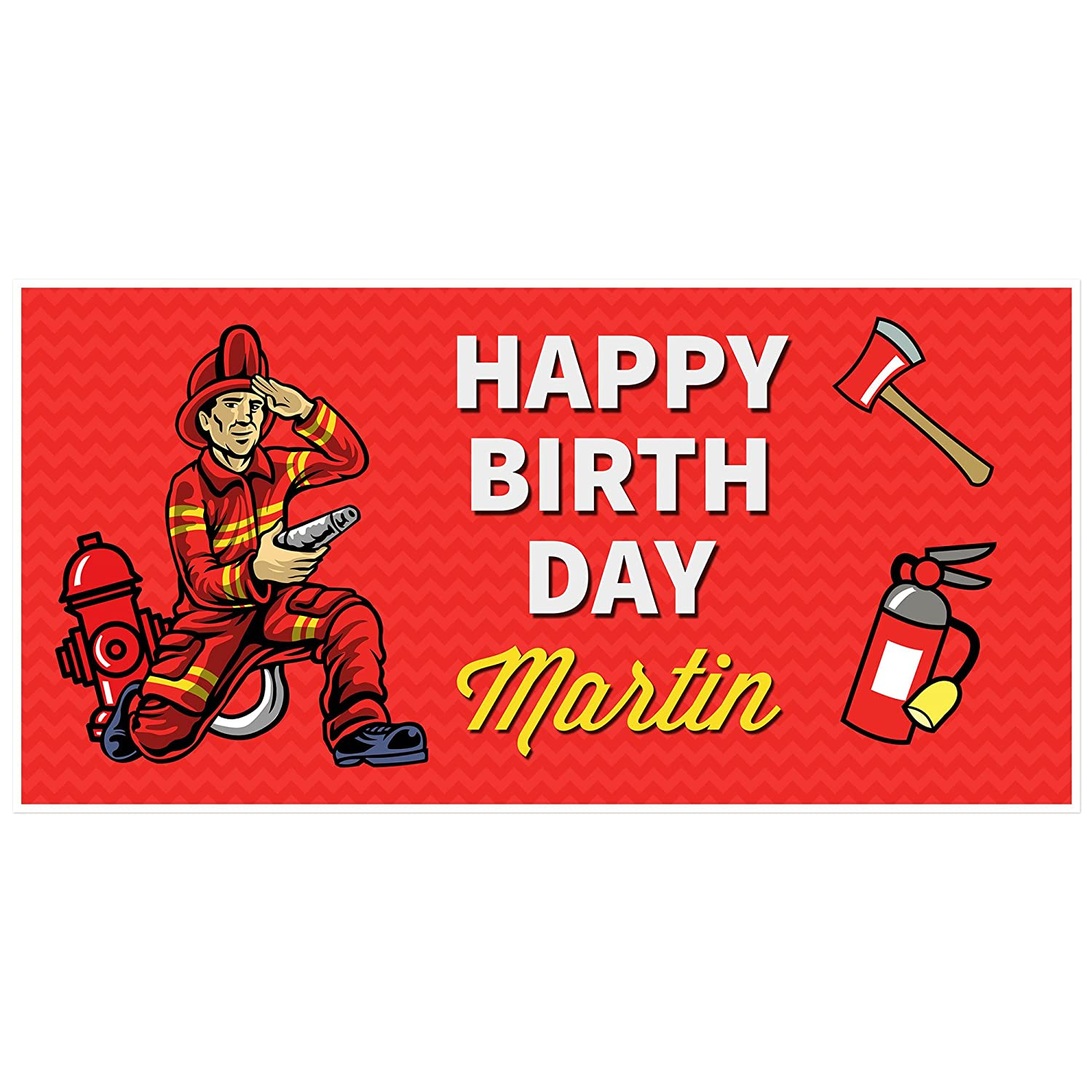 Fireman Firefighter Birthday Banner Personalized [Alternative dealer] Decoratio Party Large-scale sale