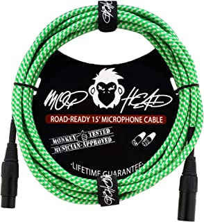 Mophead 15 Foot Double Insulated and Road Ready Braided XLR Male to XLR Female Microphone Cable Green and White
