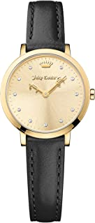 Juicy Couture Women's Champagne Dial Color Leather Band Watch - 1901452