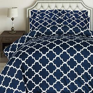 7e217d1c52a0 Utopia Bedding 3pc Printed Duvet Cover Set with 2 Pillow Shams (Queen, Navy)