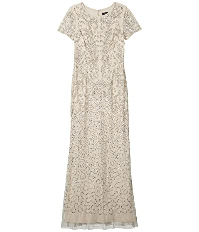 Adrianna Papell Long Beaded Gown (Biscotti) Women