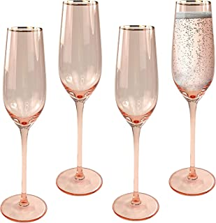 Champagne Flutes, Set of 4 - Modern Crystal Stemware and Flute Glasses for Toasting - Premium Drinkware and Glassware Gifts for Weddings, Anniversaries, Holidays, and Parties