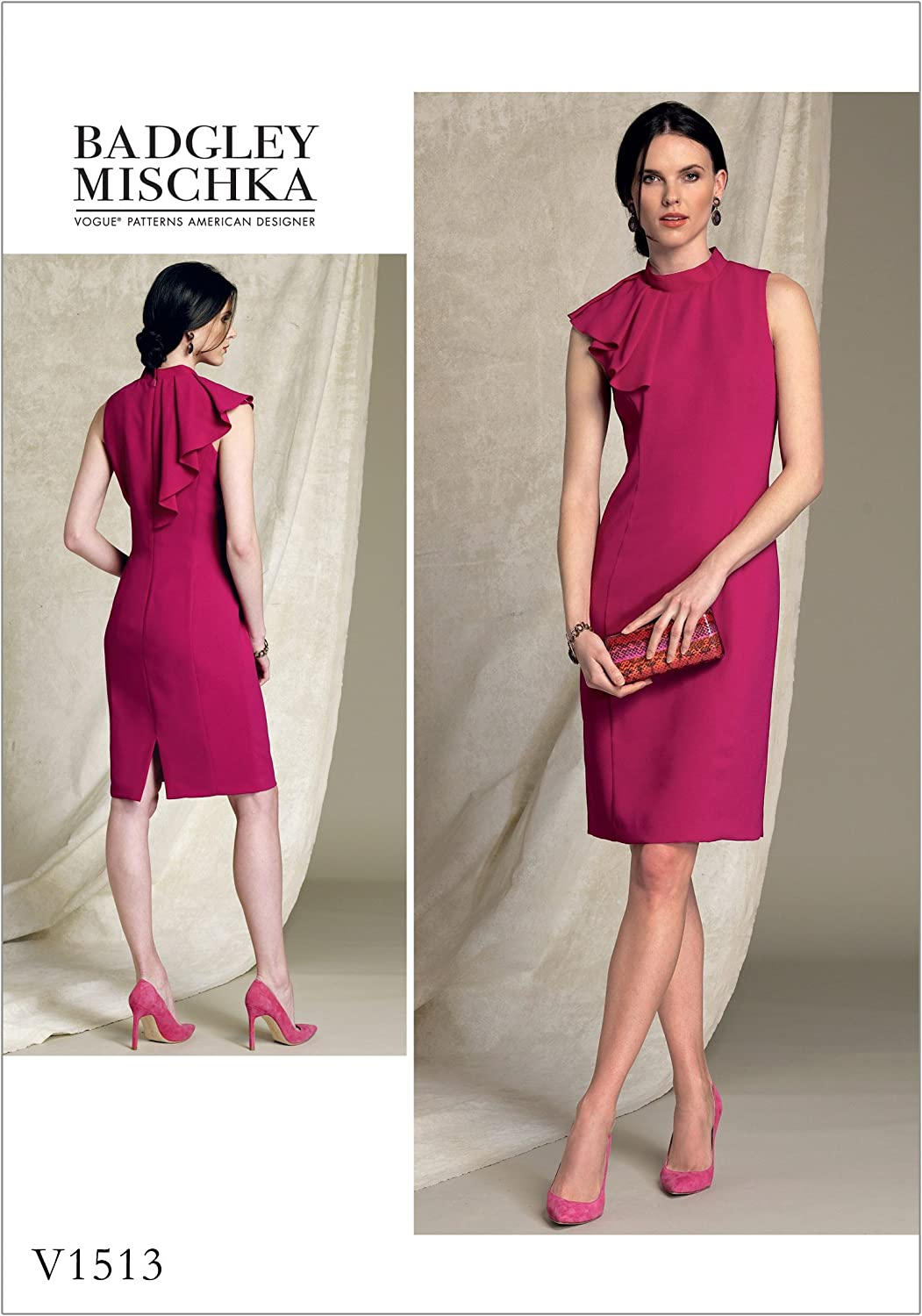Vogue Patterns V1513A50 Dress Misses' Petite Asymmetrical DrapedNeck, 68101214, orange