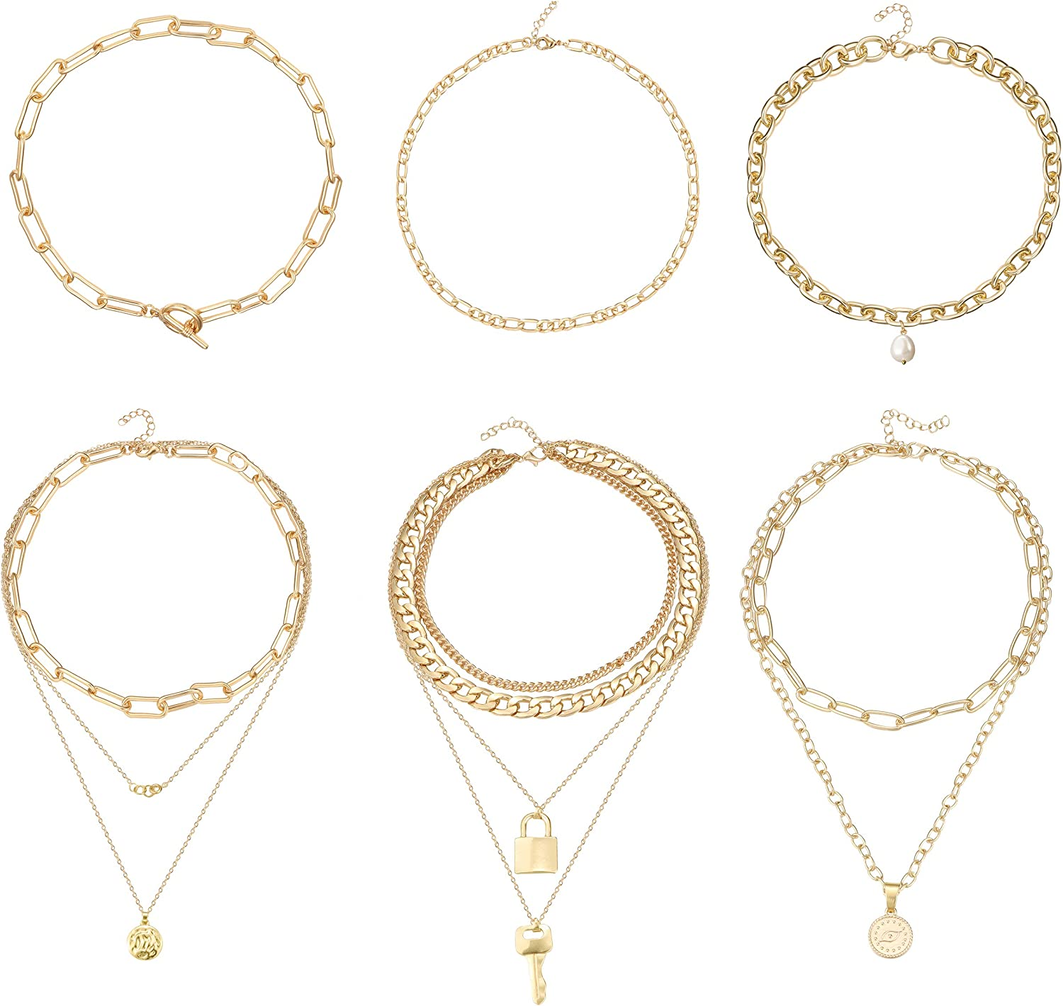 FIBO STEEL 14k Gold Plated Layered Chain Necklace for Women Adjustable Choker Y Necklace Pendant with Evil Eye Lock Key Disc Chunky Link Chain Set (6Pcs)
