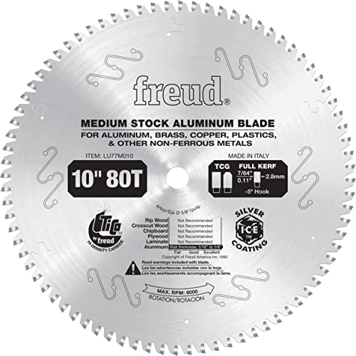 high quality Freud LU77M010 wholesale 10-Inch 80 Tooth TCG Thin Kerf Non-Ferrous lowest Metal Cutting Saw Blade with 5/8-Inch Arbor online