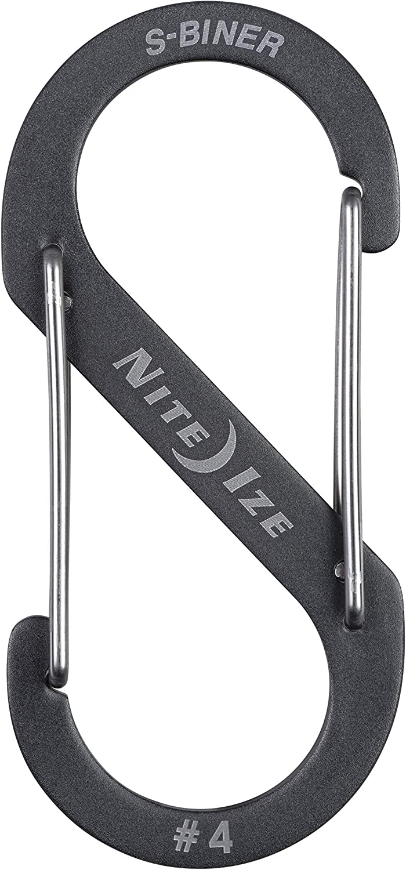 Nite Ize Size-1 S-Biner Dual Carabiner Black 2-Pack Stainless-Steel