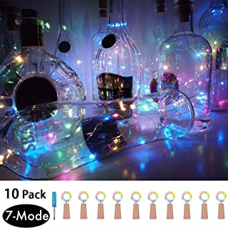 7 Lighting Modes Wine Bottle cork Lights,10 Pack Copper Wire Fairy Lights Battery Operated,LED Stopper Starry String Lights for DIY,Party,Wedding Decor,Christmas Mothers Day Decorations(4 Colors)
