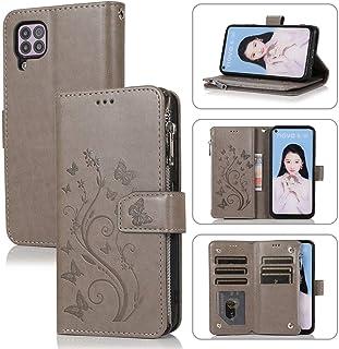 Mylne Zipper Case for Huawei P40 Lite/Nova 7i,Magnetic Closure Wallet Pocket Kickstand Card Holder Folio Butterfly Flower ...