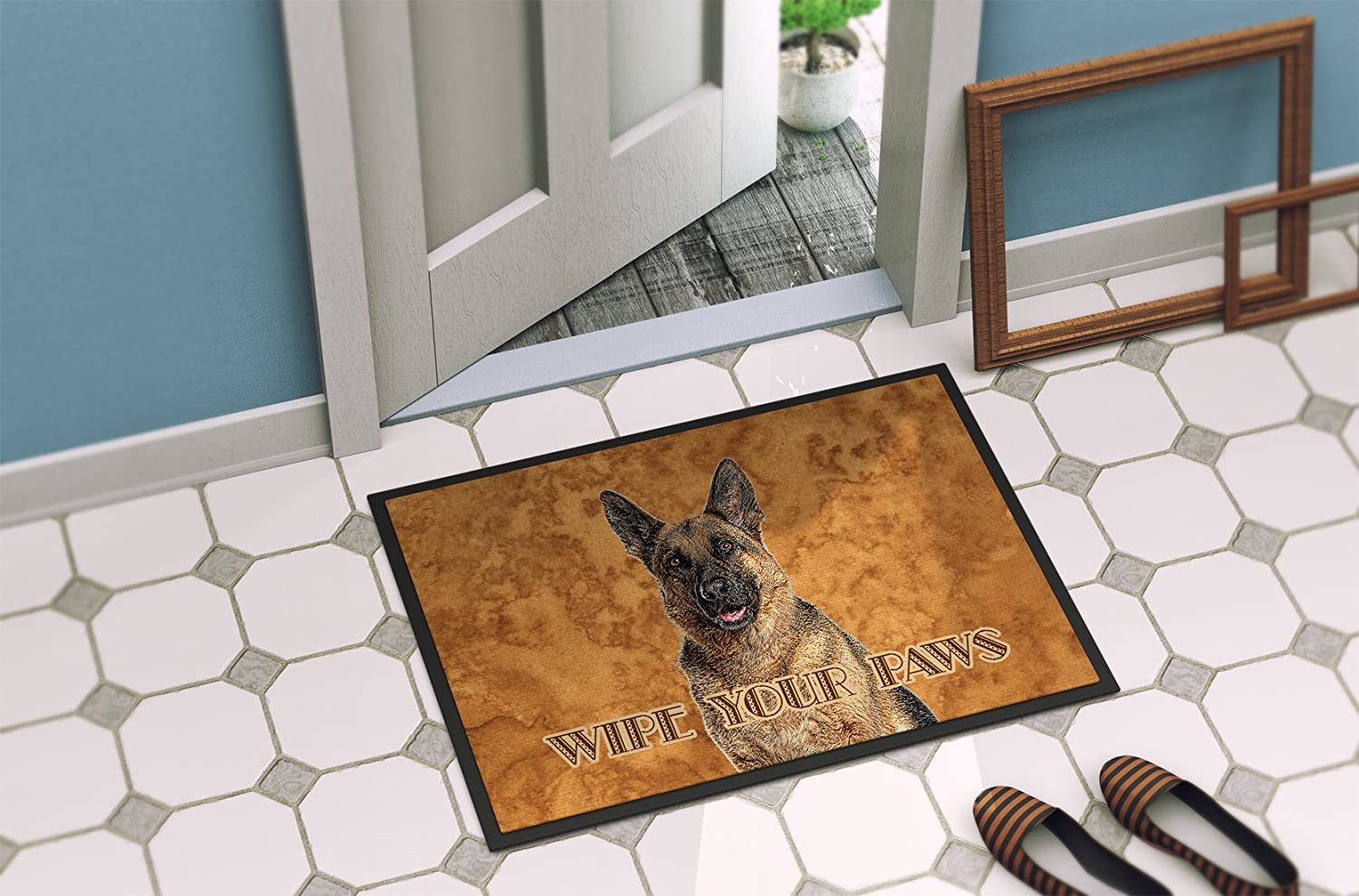 Caroline S Treasures Kj1222mat German Shepherd Wipe Your Paws Indoor Or Outdoor Mat 18x27 18h X 27w Multicolor Caroline S Treasures Home Kitchen