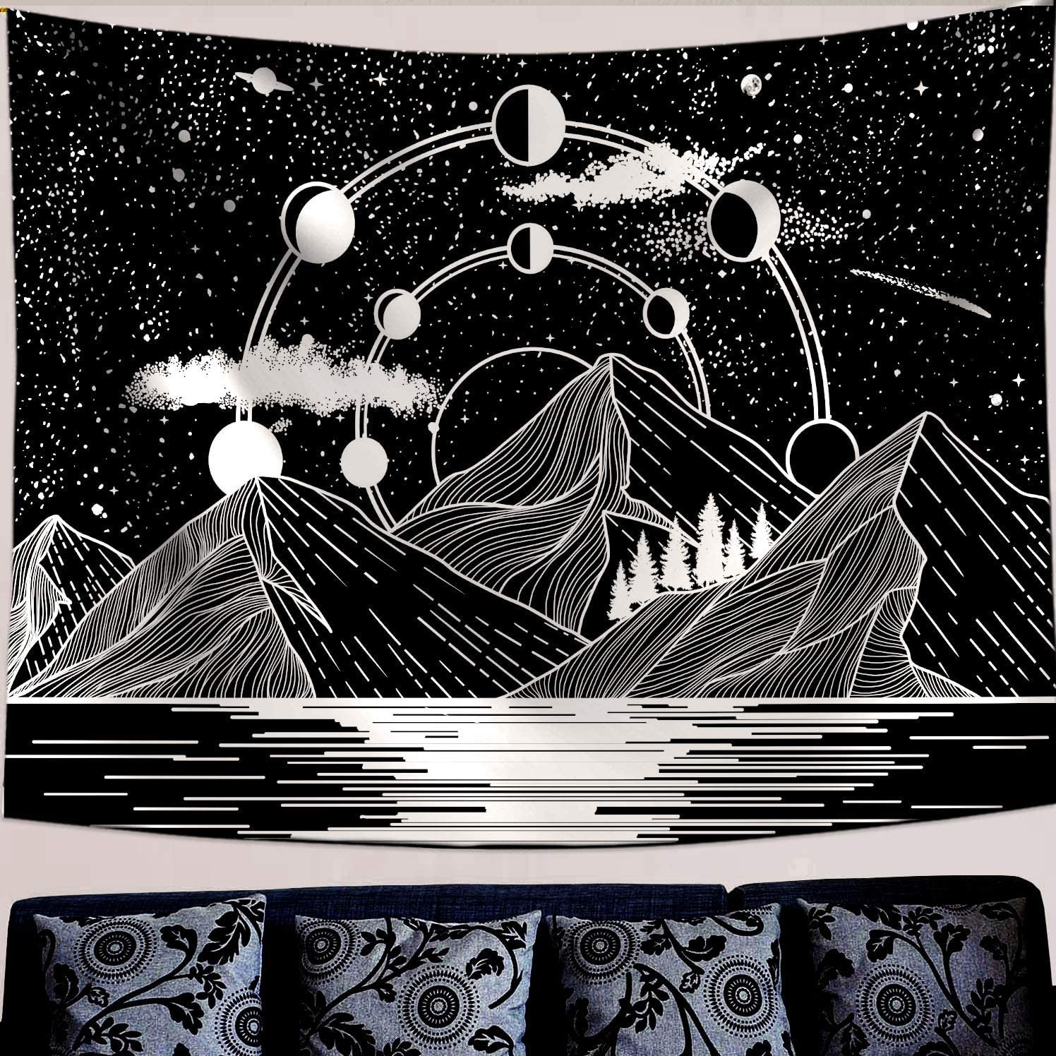 Zussun Mountain Moon Large special Popularity price Tapestry Stars River Art Black White Ta and