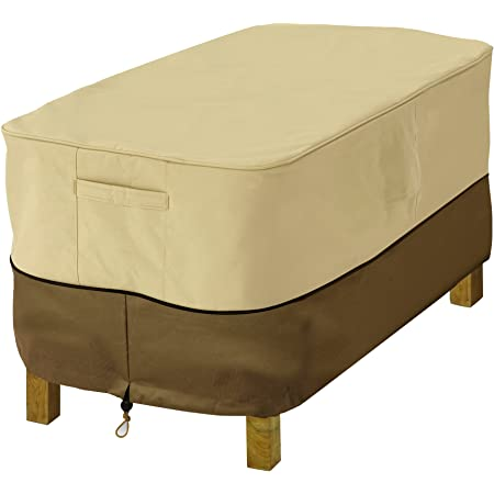 Square Patio Ottoman Cover,Waterproof Outdoor Ottoman Cover with Padded Ha R5X9