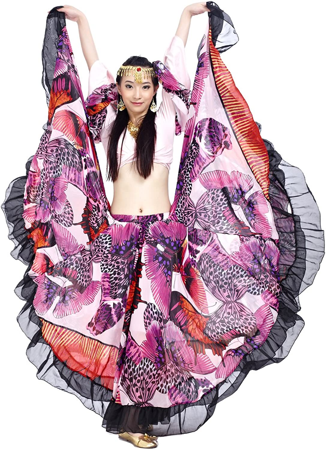 DEMON BABY HighEnd Gypsy Tribal 25Yard Belly Dance Maxi Skirts Ball Gown with Butterfly Print Pattern Full Skirt