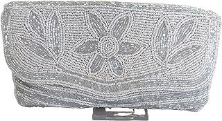 Handgefertigte Abend-Clutch, Abendtasche, Umschlag-Geldbörse, Schultertasche mit Perlenarbeit und Schulterriemen mit Perlen