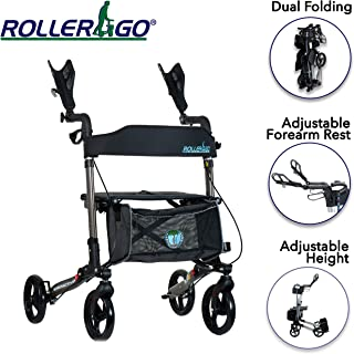 New Roller-GO Double Foldable Adult Mobility Rollator Upright Walker,Stand Up Double Folding Rollator Walker Rolling Mobility Walking Aid with Ergonomic Seat and Padded Forearm Cuffs for Seniors