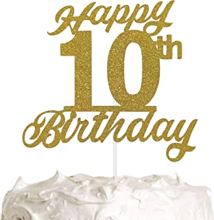 Happy 10th Birthday Cake Topper, 10th Birthday Cake Topper, Party Cake Decoration