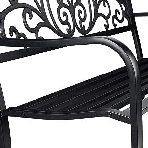 Relaxdays Banco Jardín y Terraza de 2 Plazas de Estilo Vintage, Hierro Fundido y Acero, Negro, 86,5 x 127 x 60 cm