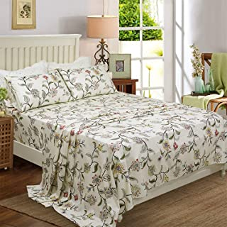 Softta Elegant and Shabby Bedding King 4 pcs Green Leaves Floral Bed Sheet Set 1 Flat Sheet +1 Fitted Sheet +2 Pillowcases Princess Bedding Girls 100% Egyptian Cotton 800 TC Hypoallergenic