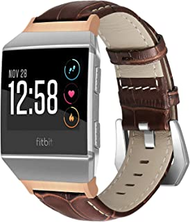 SKYLET for Fitbit Ionic Bands, Genuine Leather Accessories Replacement Strap with Metal Buckle for Fitbit Ionic Smart Watc...