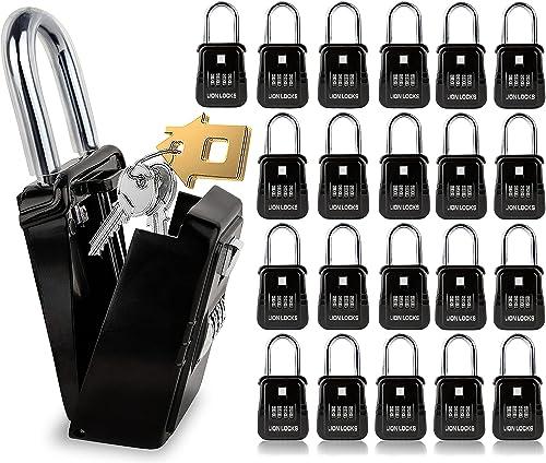 new arrival Lion Locks 1500 Key Storage Realtor Lockbox, discount Set-Your-Own Code Lock Portable Key Holder, Rust-Proof Secure Outdoor Key Safe, popular Hide-a-Key Safe Box Realtor Lock Box, Airbnb, Construction (24-Pack/Black) sale