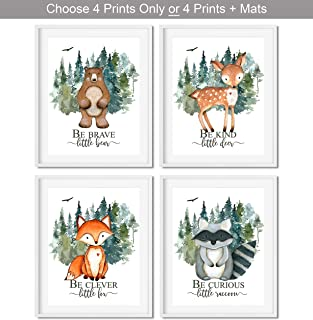 Woodland Nursery Decor for Boys - Animal Pictures Wall Art - Baby Room Animal Prints - Kids Bedroom Poster - Bear Deer Fox Raccoon Decorations - CHOOSE SIZE and MAT or PRINT ONLY - SET OF 4 UNFRAMED