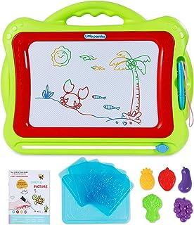 SGILE - Tabla de dibujo para niños con soporte plegable, 3 sellos, no tóxico, magnética, para dibujo, cuaderno de dibujo, para niños