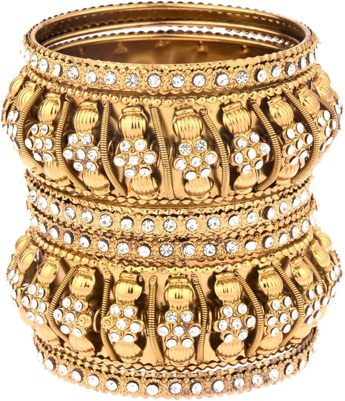Efulgenz Boho Vintage Antique Gypsy Tribal Indian Oxidized Gold Plated Pearl Crystal Bracelets Bangle Set (6 Pc)