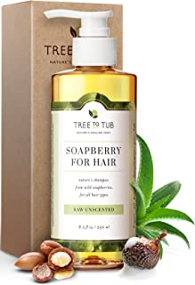 Ultra Gentle Shampoo for Very Sensitive Skin by Tree To Tub - pH 5.5 Balanced & Fragrance Free Shampoo for Damaged Scalp, Psoriasis, with Organic Moroccan Oil, Wild Soapberries 8.5 oz