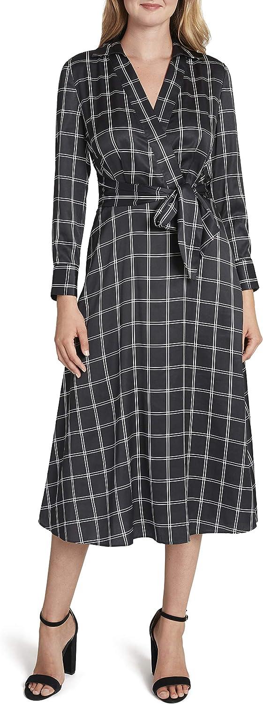 Tahari ASL Women's Long Sleeve Surplus Windowpane Tie Waist Shirt Dress