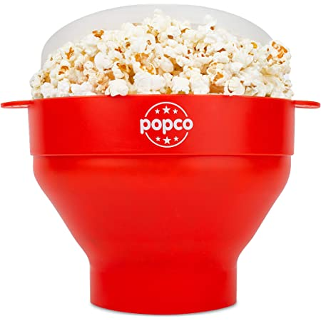 The Original Popco Silicone Microwave Popcorn Popper with Handles, Silicone Popcorn Maker, Collapsible Bowl Bpa Free and Dishwasher Safe - 15 Colors Available (Red)