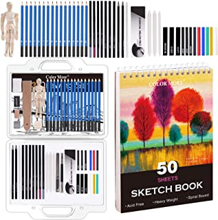 54 Piece Drawing Set with Carry Handle-Sketching,Graphite,Pastel and Charcoal Pencils.Includes 50 Page Drawing Pad,Eraser,...