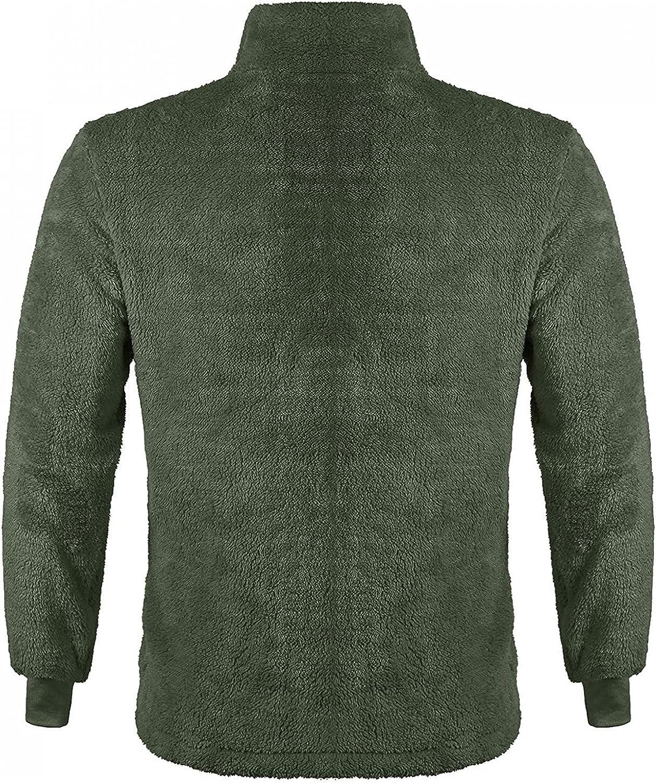 FUNEY Men's Fuzzy Sherpa Lined Sweatshirt Jacket Fall Winter Long Sleeve Button Collar Pocketed Pullover Sweater Outwear