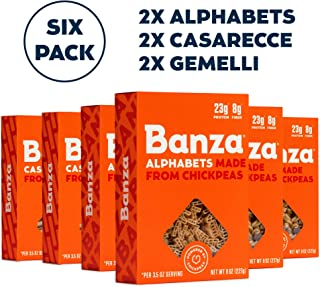 Banza Chickpea Pasta – High Protein Gluten Free Healthy Pasta – Variety Case (Alphabets, Casarecce, Gemelli) (Pack of 6)