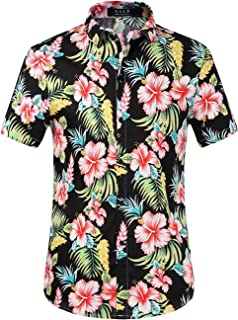 Men's Floral Casual Button Down Short Sleeve Hawaiian Shirt