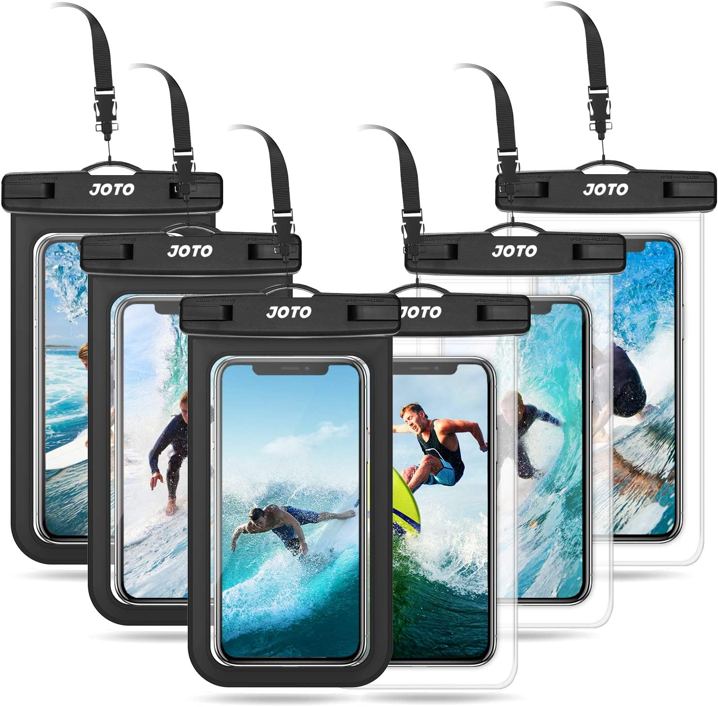 JOTO Universal Waterproof Pouch Cellphone Dry Bag Case for iPhone 13 Pro Max Mini, 12 11 Pro Xs Max XR XS X 8 7 6S Plus, Galaxy S10 S9/S9+/S8/S8+/Note 10+ 9, Pixel 4 XL up to 7