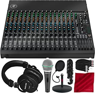 Mackie 1604VLZ4 16-Channel 4-Bus Compact Mixer with Tascam TH-MX2 Mixing Headphones, Samson Microphone, Xpix Mix Stand, and Deluxe Audio Bundle