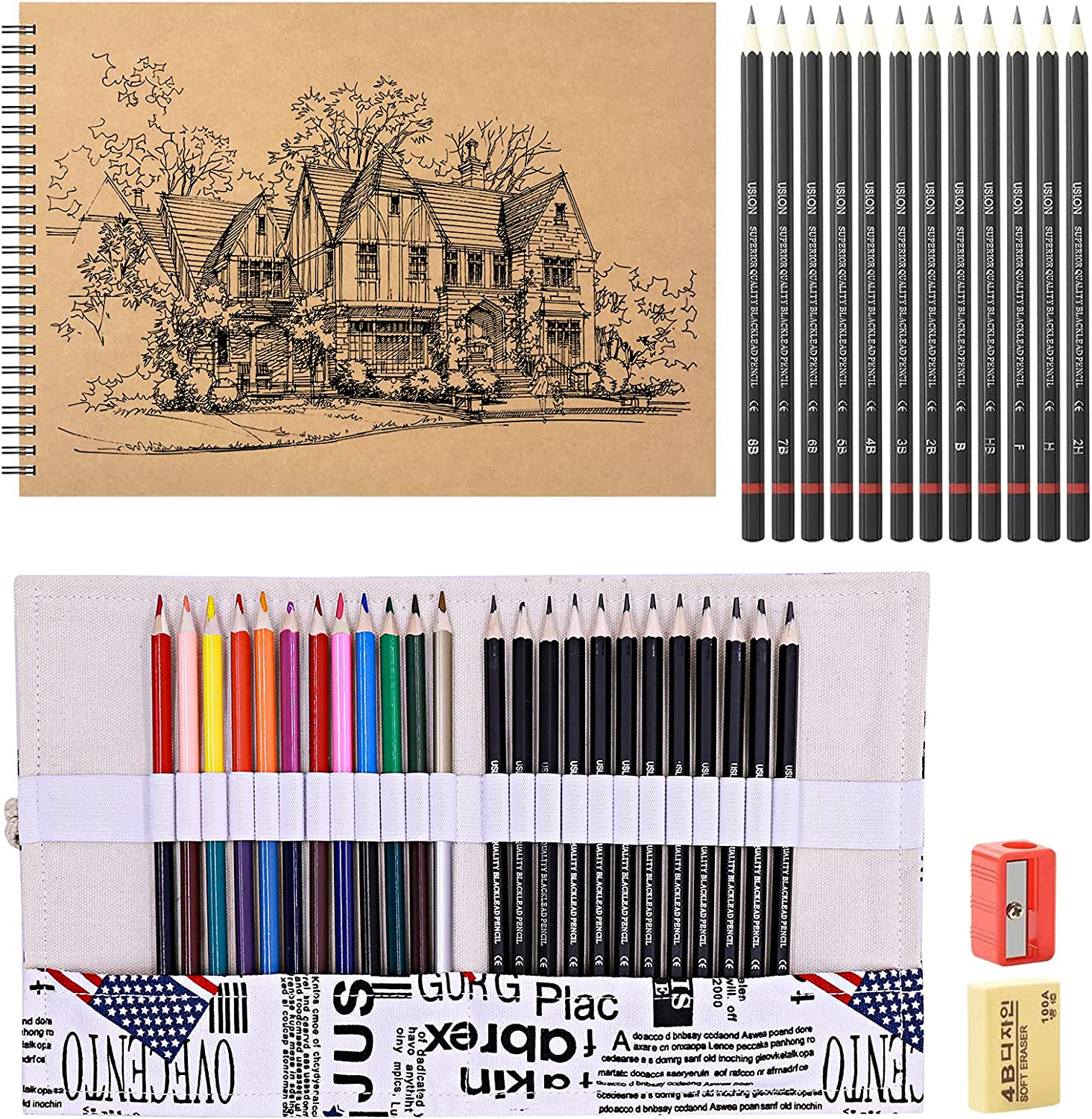 HomeMall Sketching Popularity Pencils Set Supplies Drawin 40-Piece Drawing Directly managed store