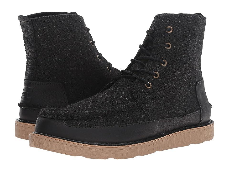 TOMS Searcher Boot (Black Herringbone/Black Leather) Men