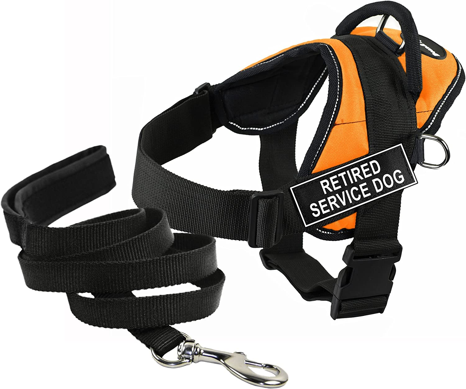 Dean & Tyler's DT Works orange RETIRED SERVICE DOG Harness with Chest Padding, XSmall, and Black 6 ft Padded Puppy Leash.