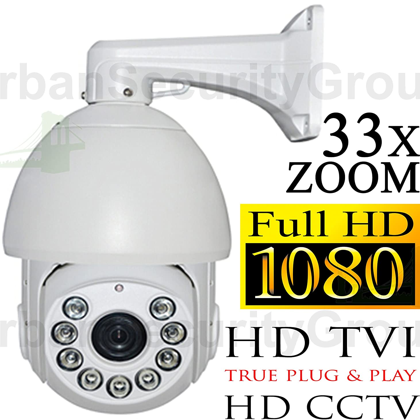 USG HD-TVI PTZ 33x Optical Zoom Speed Dome Security Camera 1080P 2MP 4.7-155mm Motorized + Auto-Focus Lens: 1920x1080, 500ft Night Vision, IR-Cut, WDR, Motion Detection, DNR, Precision Drive Motor hjhqb264701