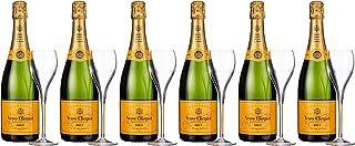 Veuve Clicquot Brut Yellow Label mit Geschenkverpackung Set, 6 Flaschen und 6 Gläser 6 x 0.75 l