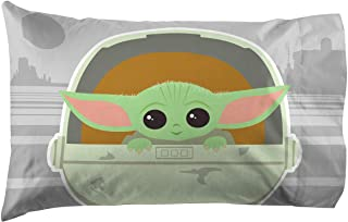 Jay Franco Star Wars The Mandalorian The Cutest Bounty 1 Pack Pillowcase - Double-Sided Kids Super Soft Bedding - Features The Child Baby Yoda (Official Star Wars Product)