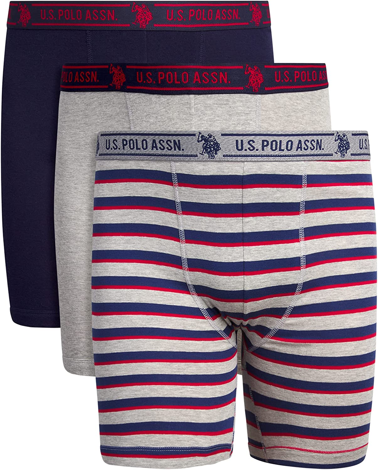 U.S. Polo Assn. Men's Big and Tall Cotton Boxer Brief Underwear (3 Pack)