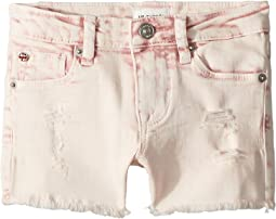 "3"" Fray Hem Shorts in Pink Coral Acid Wash (Infant)"