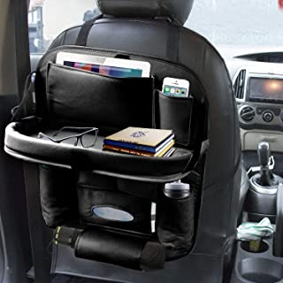 AllExtreme Universal PU Leather Auto Car Seat Back Organizer with Foldable Dining Table Tray, Multipocket Storage Tablet, ...
