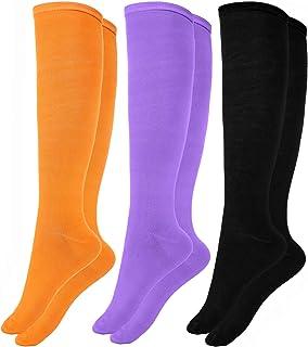 3 pares de calcetines altos de la rodilla de las mujeres elásticos calcetines altos calcetines altos de las muchachas ocasionales (Conjunto de colores 1)