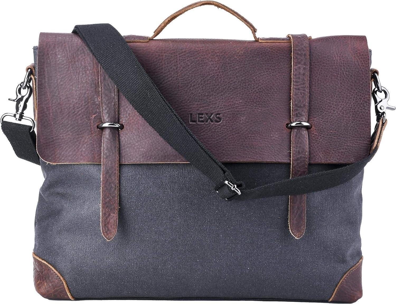 LEXS Laptop Messenger Bag Leather 市場 Crossbody B 日本メーカー新品 Canvas Vintage