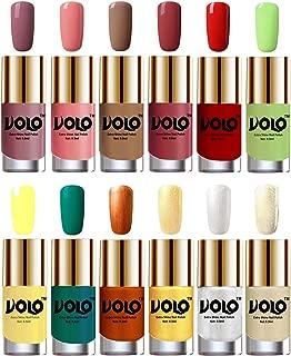 Volo Luxury Super Shine Nail Polish Set of 12 Vibrant Shades (Nudes Spring, Candy Cotton, Dark Nude, Tan, Reddish Orange, Parrot Green, Yellow, Radium Green, Red Gold, Golden, Metallic Silver, Light Golden)